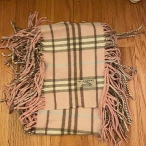 BURBERRY Cashmere Check Happy Fringe Scarf Pink